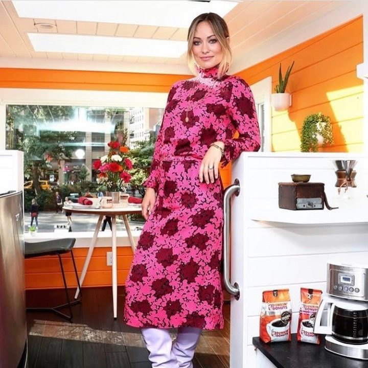 Olivia Wilde in orange dress leaning against dunkin tiny home counter